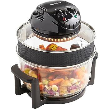 VonShef Premium 12L Black Halogen Air Fryer Oven 1400W, Includes 8 Accessories, Timer & Extender Ring
