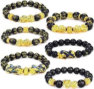 YADOCA 6 PCS Feng Shui Golden Pi Xiu Lucky Wealthy Amulet Braccialetto Nero Natural Obsidian Wealth Braccialetto Regolabile Elastico 12mm Bead Dragon Good Lucky Braccialetto Set