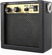 MVPOWER PG-5 5W Gitarrenverstärker Bassverstärker Mikrofoneingang Mini Combo Amp Portable Gitarren Combo Micro / Mini-Verstärker für Elektrische Gitarren (3.5 mm Kopfhöreranschluss)