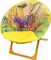 Ehomekart Foldable Saucer Chair for Kids - (51 x 51 x 50 cm) - Yellow Printed