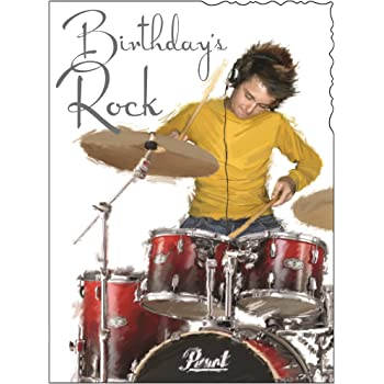 Drum Kit Drummer Personalised Birthday Card Amazon Office