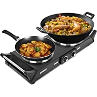 Duronic HP2 BK Plaque de cuisson chauffante électrique avec double foyer en fonte de 20 et 15 cm| 2500W | Compacte et…
