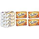 Santoor Sandal and Almond Milk Soap (Buy 4 Get 1 Free 125g each) And Santoor Plain Bathing Bar, 150gm [Pack of 4]