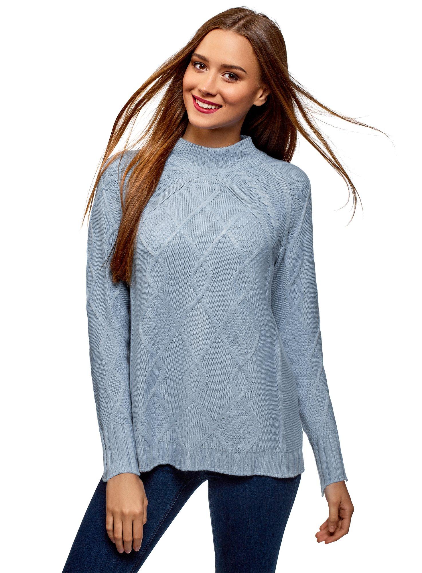 oodji Collection Mujer Jersey de Punto Texturizado con Cuello Alto