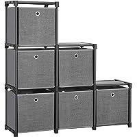 Songmics LSN66BK Étagère à emboîter 6 Cubes Système de Rangement avec 6 boîtes en Tissu DIY Armoire Multifonction avec…