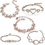 Om Jewells Valentine Gift Rose Gold Platted Crystal Jewellery Combo Of 5 Designer Adjustable Chain Bangle Bracelet Emblished