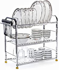 Home Creations 3 Layer 18 Inch Kitchen Dish Rack Plate Cutlery Stand / Kitchen Utensils Rack / Modern Kitchen Storage Rack