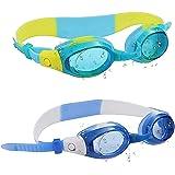 Simglasögon för barn (2-pack) - Simglasögon - UV-skyddad sport Google för flickor och pojkar - Klar vid syn, Anti-dimma, vatt
