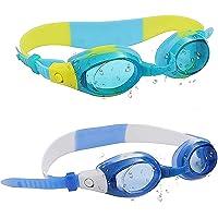 Lunettes Natation Enfant (2 Paires) - Junior Lunettes Natation Aquatiques pour Filles et Garçons - Protection UV, Anti…