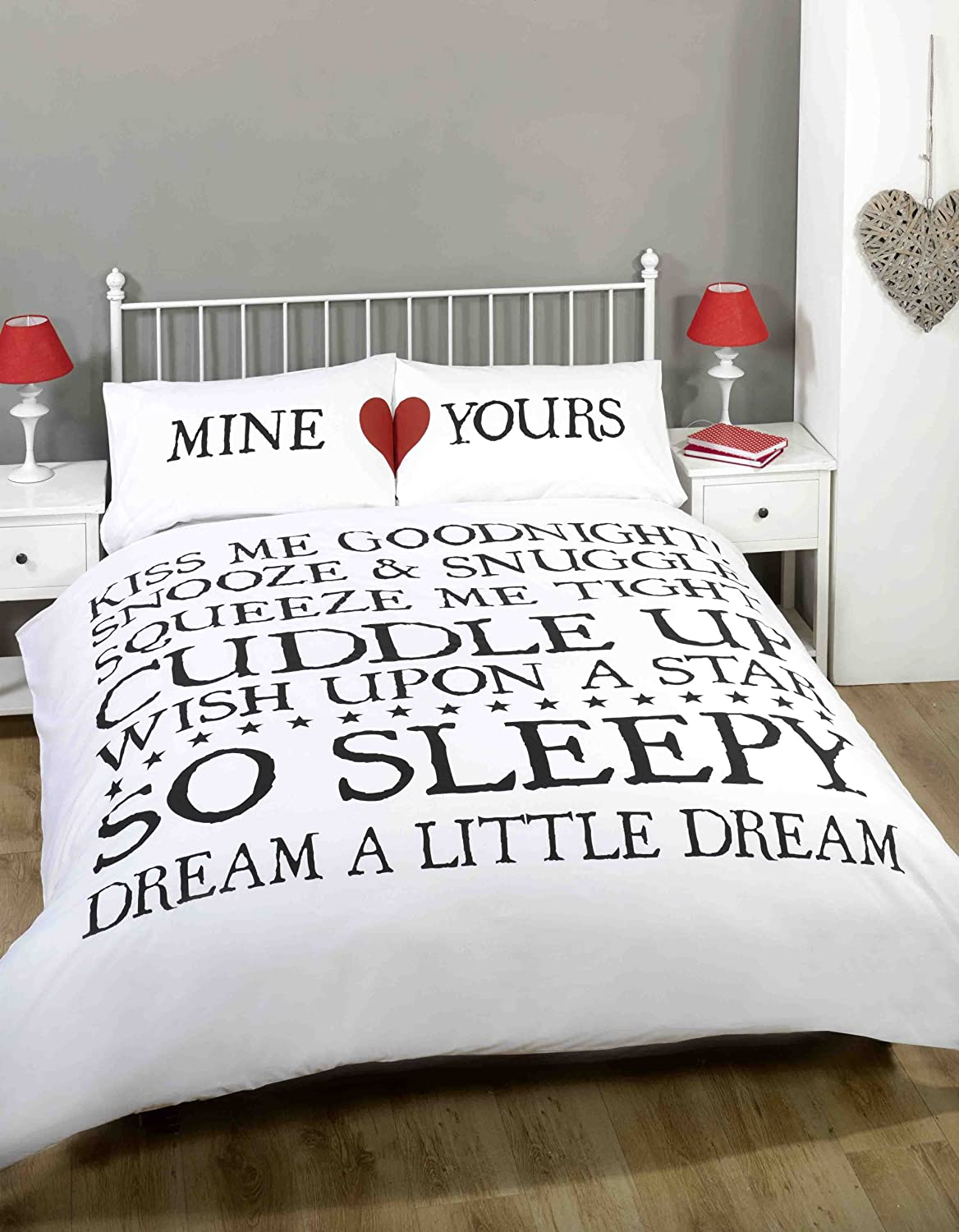 made with love mine and yours love heart duvet cover quilt bedding set whiteblack double amazoncouk kitchen u0026 home
