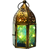 Hashcart Antique Metal Glass Moroccan Style Hanging Table Top Lantern with Rice Light