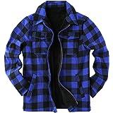 Chaqueta de tela escocesa para hombre, chaqueta de sherpa a cuadros de forro polar forrado de franela abrigo de manga larga c