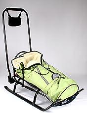 3in1 Kinder Schlitten mit Rückenlehne, Fusssack, Schiebegriff und Gurt aus Aluminium