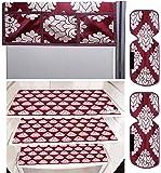 Kuber Industries Flower Design 3 Pieces PVC Fridge Mats,2 Piece Handle Cover and 1 Piece Fridge Top Cover (Maroon…