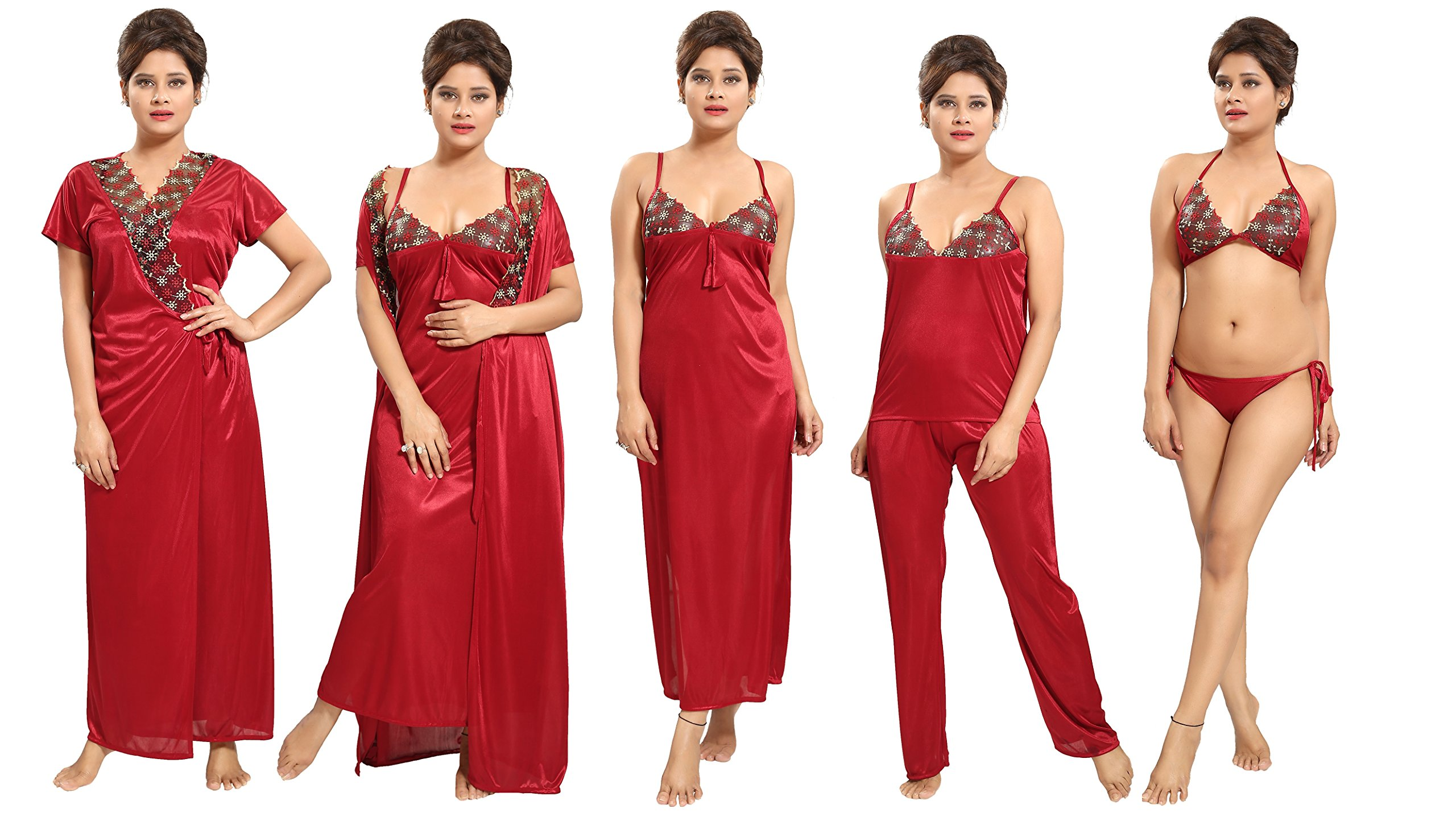 0cb402d221f2e Tucute Women's Satin Nightwear Set of 6 Pcs Nighty, Wrap Gown, Top ...