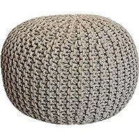 Pouf tricoté Ø 55 cm, Extra Hauteur 37cm Beige