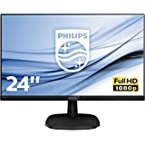 """Philips 243V7QJABF Monitor 24"""" LED IPS FHD, 4 ms, 3 Side Frameless, Low Blue, Flicker Free, HDMI, Display Port, VGA, Casse In"""