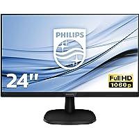 "Philips 243V7QJABF Monitor 24"" LED IPS FHD, 4 ms, 3 Side Frameless, Low Blue, Flicker Free, HDMI, Display Port, VGA, Casse Integrate, Attacco VESA, Nero"