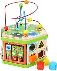 """Motorikwürfel """"Safari"""", Baby-Kinderspielzeug aus Holz, vielfältiges Spielerlebnis auf sieben Spielflächen, Tierwelt mit Motorikschleife, Schiebespiel und Rechenschieber, ab 12 Monate"""