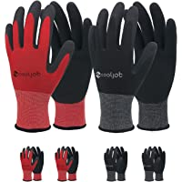 COOLJOB Gardening Gloves for Men, 6 Pairs breathable Rubber Coated Garden Gloves, Work Gloves for Men, Men's Medium Size…