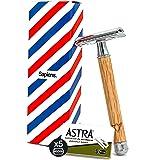Veiligheidsscheermes van Sapiens Barbershop - Nat scheermes met 5 scheermesjes Astra - Klassieke baard scheerschaaf met houte