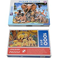 Store2508 Jigsaw Puzzle Set Animal Kingdom & Golden Retriever Puppies Set 1000 Pcs Pack of 2