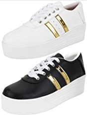 Ethics Perfect Combo Pack of 2 White & Black Gold Sneaker Shoes for Women