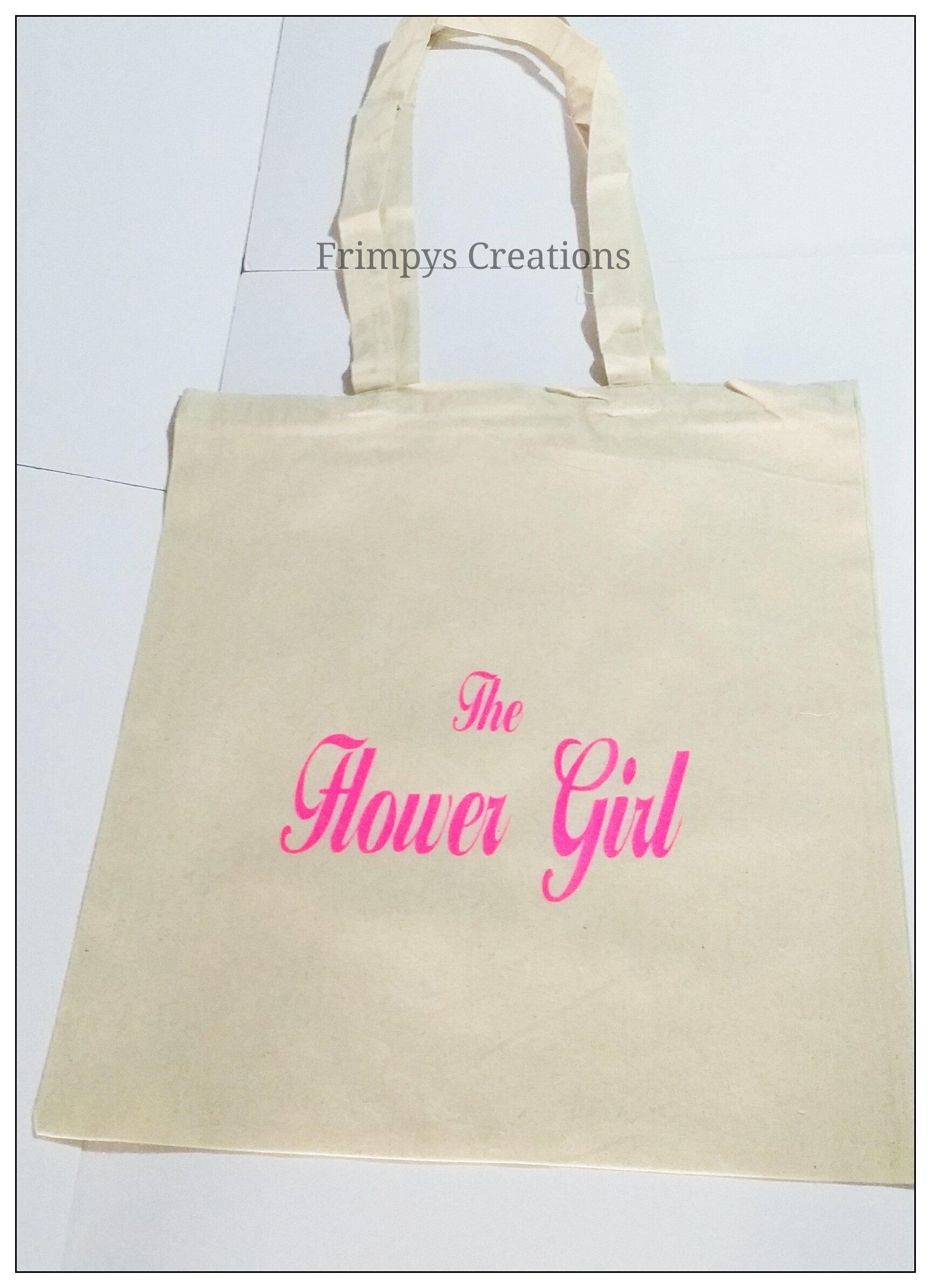 Wedding Favour Tote Bag cotton Printed Gift Present Keep The Flower Girl Novelty (BAG) - handmade-bags