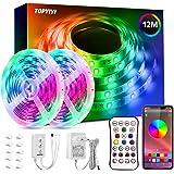 Tiras LED 12M RGB 5050 Música, TOPYIYI Bluetooth Luces de Tiras LED, luces led habitacion Controladas por APP, IR Control Rem