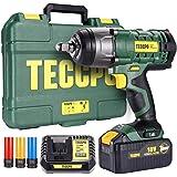 Boulonneuse a Choc, TECCPO 350Nm Clé à Chocs,4.0Ah Batterie, Visseuse à Choc Fréquence d'impact 3000IPM,3 Douilles à Chocs po