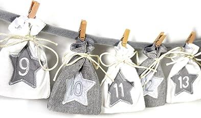 Frau WUNDERVoll Adventskalender 30 - Stoff, grau weiß - Weihnachtskalender Bastelset Adventskalender Adventskalender zum Befüllen