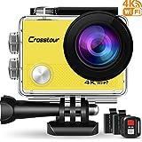 Crosstour Caméra Sport 4K Ultra HD Wi-FI 16 MP avec Télécommande Appareil Photo Étanche 30M 170 °Grand-Angle avec 2 Pouces LCD 2 Batteries Rechargeables CT9000 (Jaune)