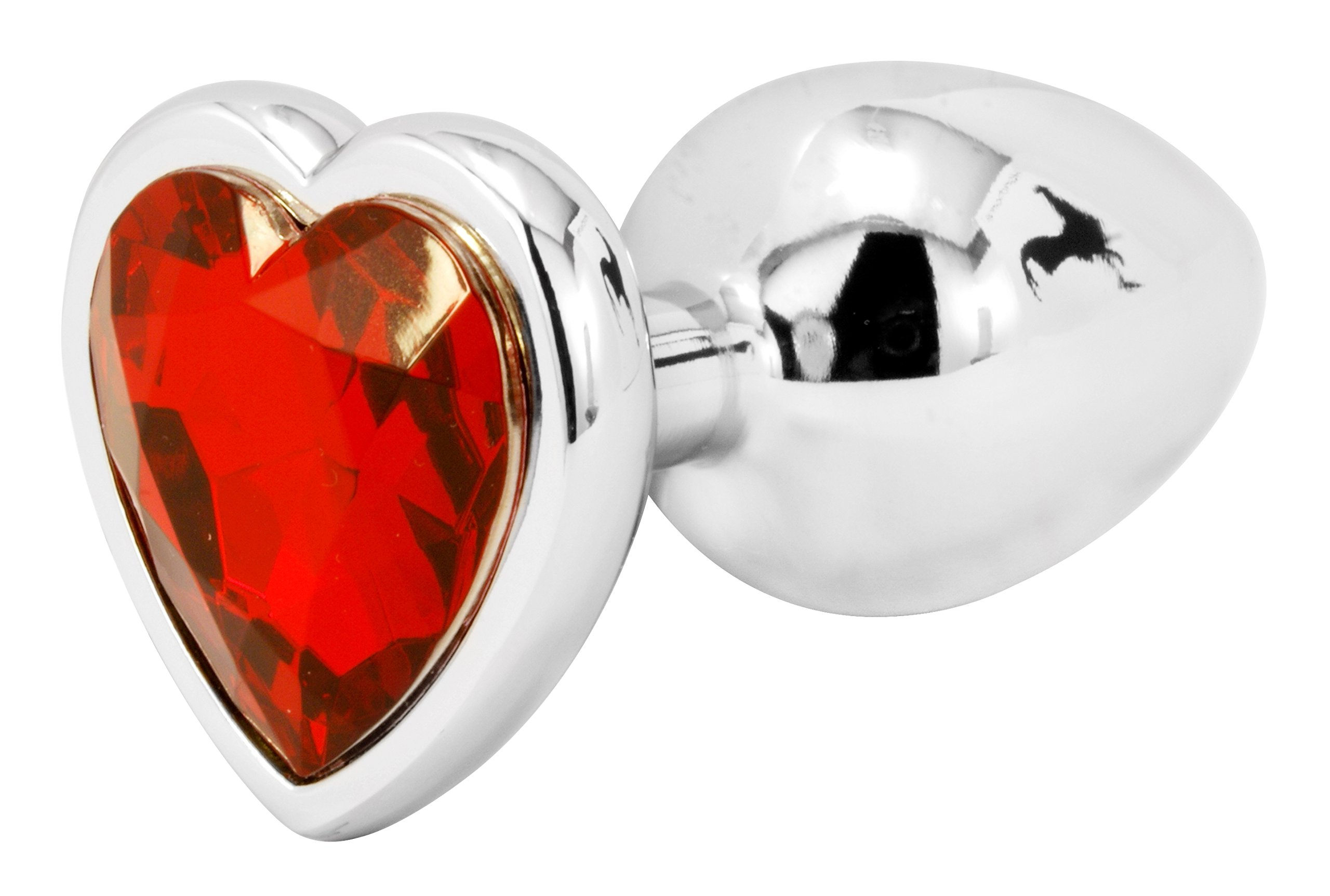 Handsome Cock Small Red Heart Jewelled Butt Plug