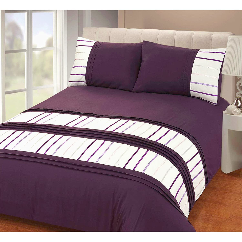 just contempo modern striped duvet cover set double purple amazoncouk kitchen u0026 home