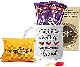 TIED RIBBONS Rakhi with Rakshabandhan Special Printed Coffee Mug and 2 Dairy Milk Chocolates, Roli Chawal