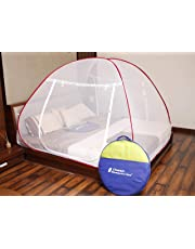 Classic Mosquito Net Foldable King Size,Queen Size Double Bed With Saviours - (Red)