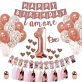 Party Propz 54 Pcs Rose Gold 1st Birthday Decoration Combo for Rose Gold Decorations Decoration Kit for First Birthday