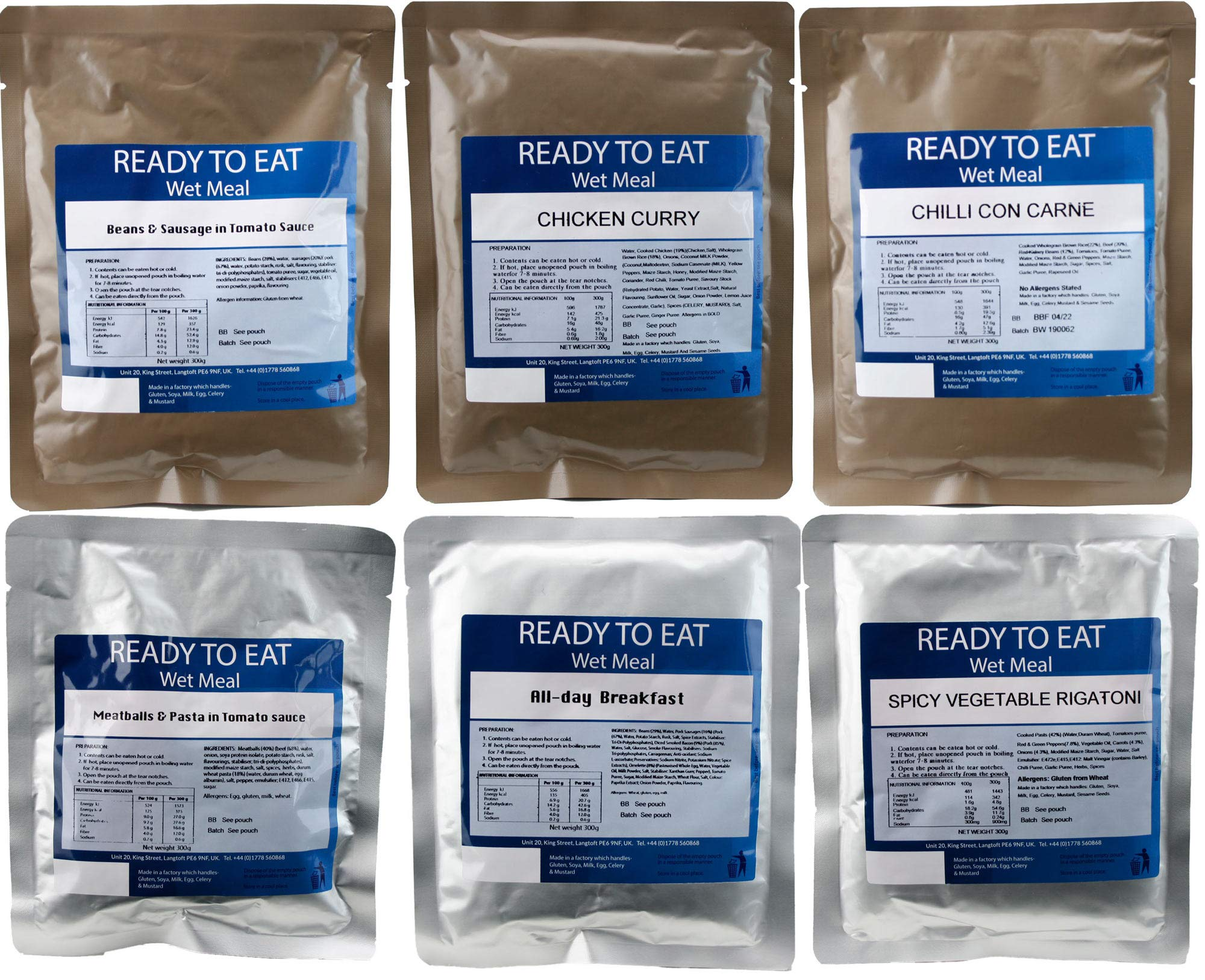 Pack of 6 Ready to Eat Camping Meals. 1