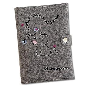 Mutterpass Mutterpassh/ülle Filz Mama blau Baby Panda bestickt Farbwahl Handarbeit