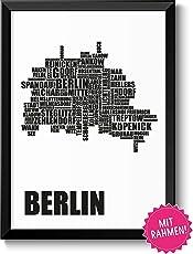 Berlin Karte Berliner Stadtbezirken im Rahmen Geschenkidee Geburtstag Umzug Einzug Frauen Männer