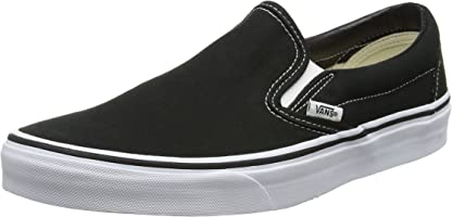 Vans Classic Slip-On Canvas, Mixte Adulte Noir (Black Shoe White Sole) 42