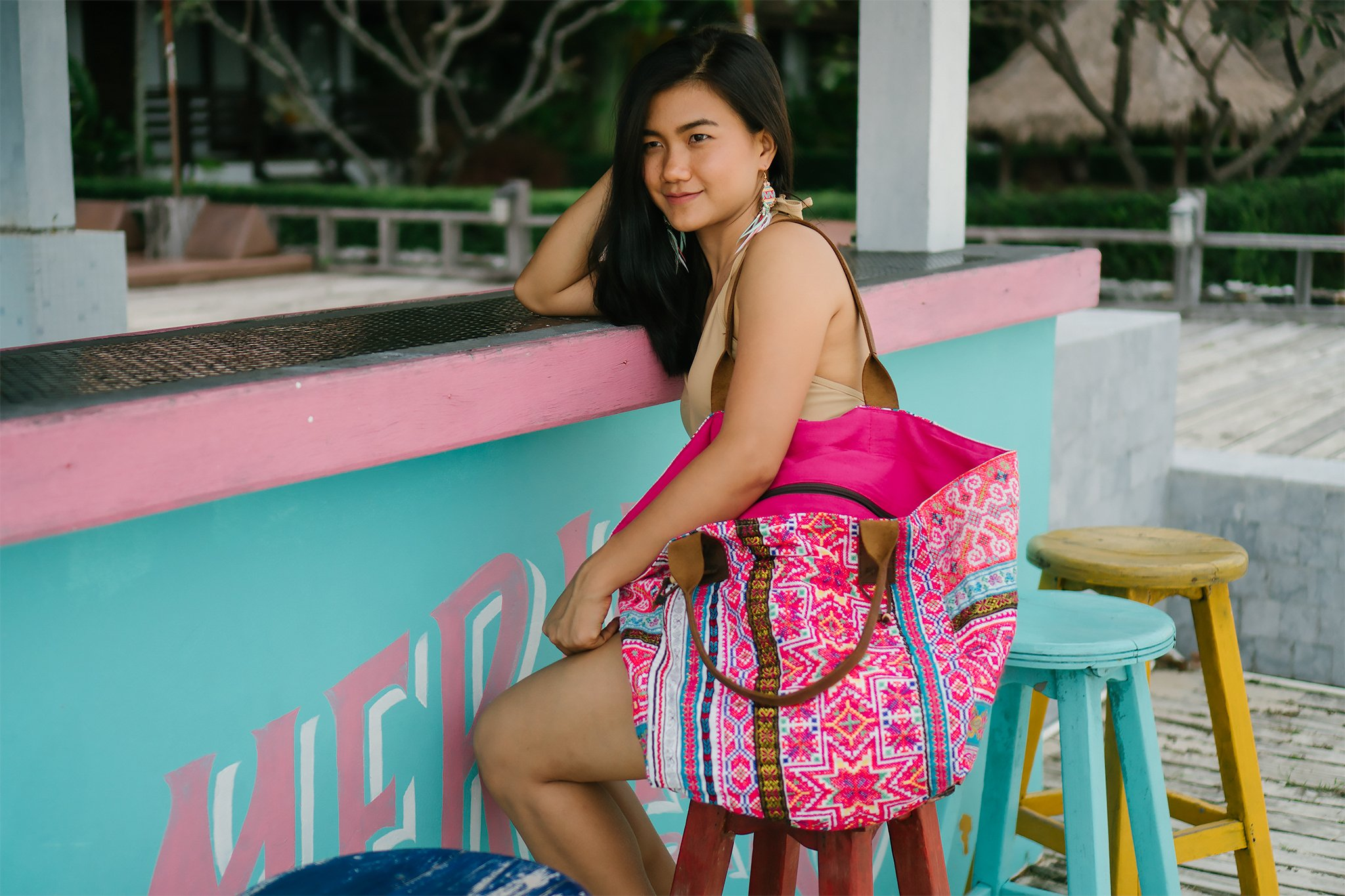 Changnoi One of a Kind Hmong Embroidered Beach Women Tote Bag, Handcrafted Unique Shoulder Bag - handmade-bags
