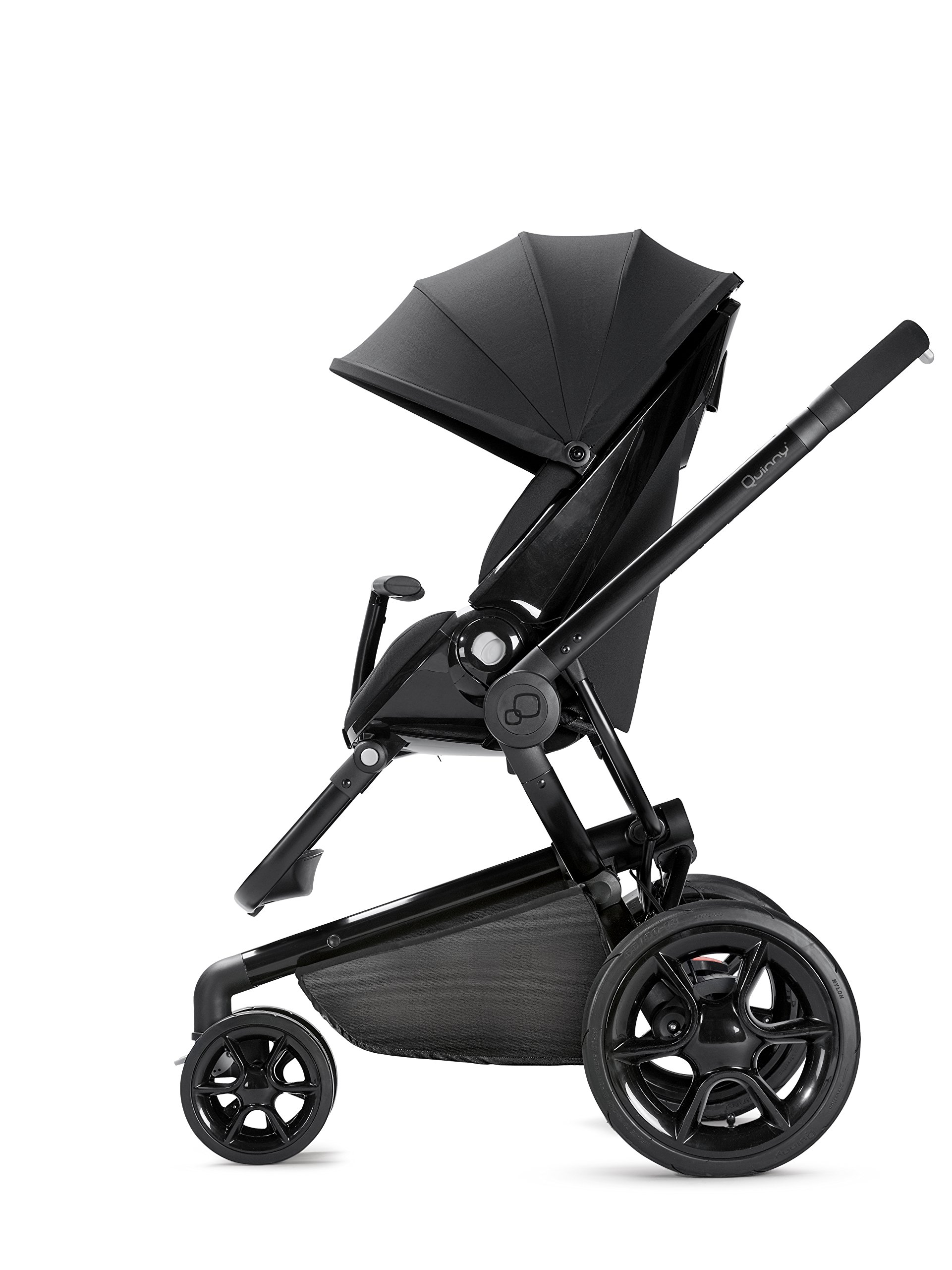 Quinny Moodd Pushchair Frame, Black Devotion Maxi-Cosi Stylish urban pushchair with cozy baby nest - suitable from birth to 15 kg (approx. 3.5 years) Foam filled comfort tyres and lockable front swivel wheels for a smooth ride Reversible seat unit with 3 recline position (including lie-flat options for newborns) 7