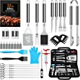 AISITIN Kit Barbecue 35 Pièces Ustensiles Barbecue Portables en Acier Inoxydable pour Jardin Camping Barbecue Cadeau Homme