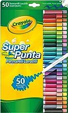 Crayola Pennarelli Lavabili Pennarelli Lavabili, Punta Media, per Scuola e Tempo Libero, Colori Assortiti, 50 Pezzi, 7555-50
