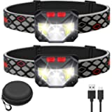 Kucoal LED Head torch, 1000 Lumen Ultra-Light Bright LED Rechargeable Headlamp with White Red Light, 2-PACK Waterproof…