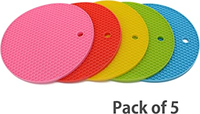 Store2508® (Pack of 5) Heat Resistant Silicone Mats for Kitchen.