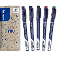 Pilot - Lot de 5 FriXion Fineliner - Feutre d'écriture effaçable - 2 Bleus, 1 Noir, 1 Rouge, 1 Vert - Pointe fine