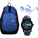 BLUTECH Blue Stylish New Casual Backpack   Laptop Bag   College Bag   Office Bag I Gym Bag with Combo of Watch…