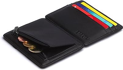 Design Magic Wallet Geldbörse mit Münzfach und RFID/NFC Schutz – Premium Portemonnaie mit Magic-Flip Funktion – Geldklammer mit Kleingeldfach – Kleiner schlanker Geldbeutel